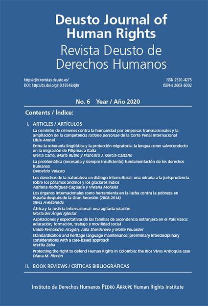 Deusto Journal of Human Rights / Revista Deusto de Derechos Humanos (DJHR) 6 (2020)